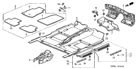 2004 RL 4 DOOR 4AT FLOOR MAT diagram