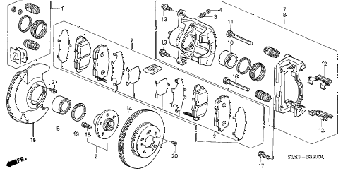 2004 RSX BASE 3 DOOR 5AT FRONT BRAKE diagram