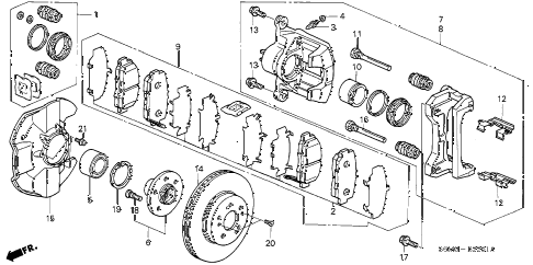 2003 RSX TYPE-S 3 DOOR 6MT FRONT BRAKE (TYPE-S) diagram