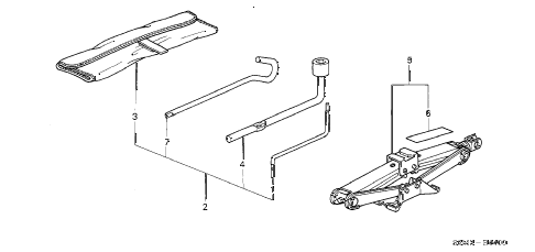 2003 RSX BASE 3 DOOR 5AT TOOL - JACK diagram