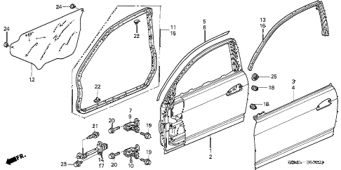 2004 RSX TYPE-S 3 DOOR 6MT DOOR PANELS diagram