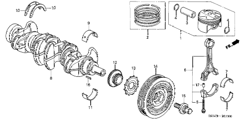 2002 RSX TYPE-S 3 DOOR 6MT PISTON - CRANKSHAFT diagram