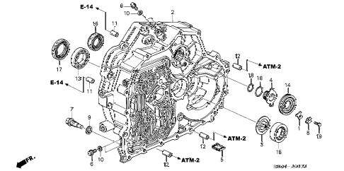 2005 RSX BASE 3 DOOR 5AT AT TORQUE CONVERTER CASE diagram