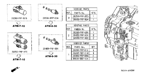 2002 RSX BASE 3 DOOR 5AT AT SOLENOID VALVE SET diagram