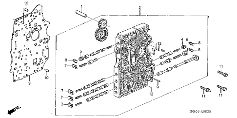 2004 RSX BASE 3 DOOR 5AT AT MAIN VALVE BODY diagram