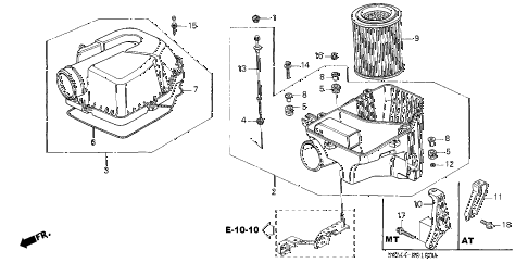 2002 RSX BASE 3 DOOR 5AT AIR CLEANER diagram