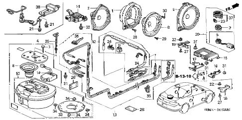 2002 RSX BASE 3 DOOR 5MT ANTENNA - SPEAKER diagram