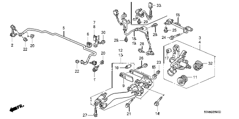 2004 RSX BASE 3 DOOR 5MT REAR LOWER ARM diagram