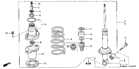 2002 RSX BASE 3 DOOR 5MT REAR SHOCK ABSORBER diagram