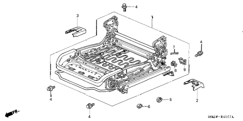 2003 RSX BASE 3 DOOR 5AT FRONT SEAT COMPONENTS (L.) (MANUAL HEIGHT) diagram