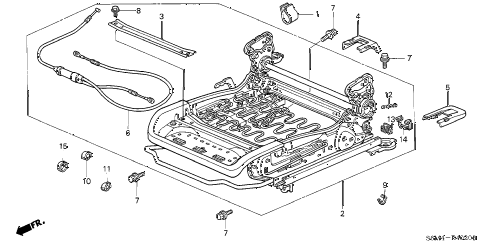 2002 RSX TYPE-S 3 DOOR 6MT FRONT SEAT COMPONENTS (R.) diagram