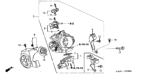 2004 RSX BASE 3 DOOR 5AT THROTTLE BODY diagram