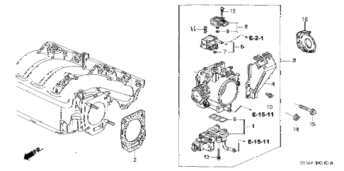 2003 RSX TYPE-S 3 DOOR 6MT THROTTLE BODY (TYPE-S) diagram