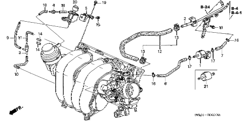 2003 RSX BASE 3 DOOR 5AT INSTALL PIPE - TUBING diagram