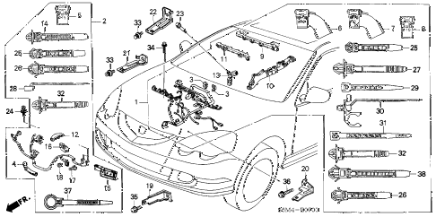 2002 RSX BASE 3 DOOR 5MT ENGINE WIRE HARNESS diagram