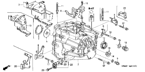 2005 RSX TYPE-S 3 DOOR 6MT MT TRANSMISSION CASE diagram