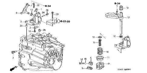 2005 RSX BASE 3 DOOR 5MT MT SHIFT ARM (5MT) diagram