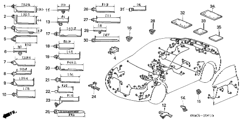 2006 RSX BASE 3 DOOR 5MT HARNESS BAND - BRACKET diagram
