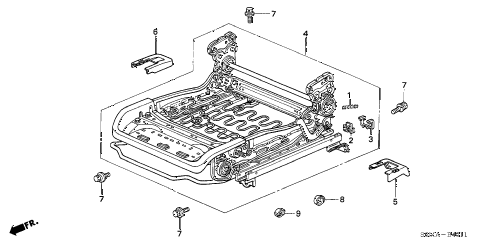 2006 RSX TYPE-S 3 DOOR 6MT FRONT SEAT COMPONENTS (L.) (MANUAL HEIGHT) diagram