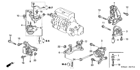 2006 RSX BASE 3 DOOR 5MT ENGINE MOUNTS (MT) diagram