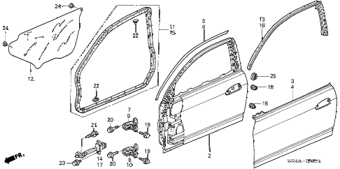 2006 RSX BASE 3 DOOR 5MT DOOR PANELS diagram