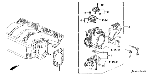 2006 RSX TYPE-S 3 DOOR 6MT THROTTLE BODY (TYPE-S) diagram