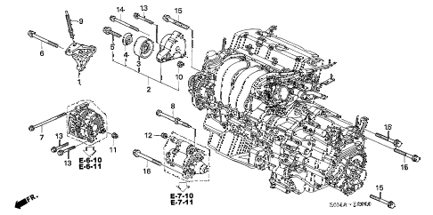 2006 RSX BASE 3 DOOR 5MT ENGINE MOUNTING BRACKET diagram