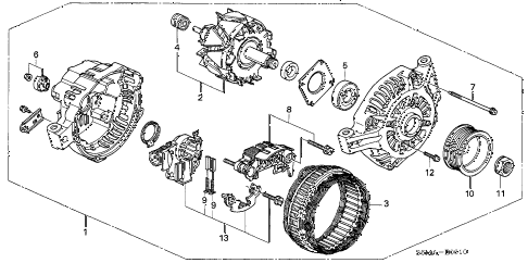 2006 RSX BASE 3 DOOR 5MT ALTERNATOR (MITSUBISHI) diagram