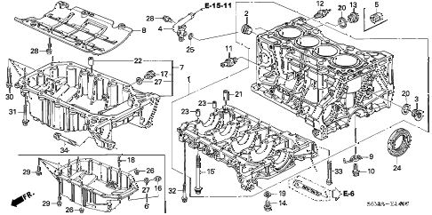 2006 RSX BASE 3 DOOR 5MT CYLINDER BLOCK - OIL PAN diagram