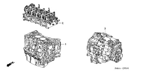 2006 RSX TYPE-S 3 DOOR 6MT ENGINE ASSY. - TRANSMISSION ASSY. diagram