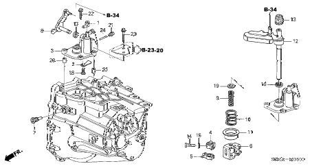2006 RSX BASE 3 DOOR 5MT MT SHIFT ARM (5MT) diagram