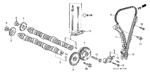 2004 TSX 4 DOOR 6MT CAMSHAFT - CAM CHAIN diagram