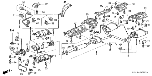 2004 TSX 4 DOOR 5AT EXHAUST PIPE diagram