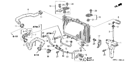 2006 TSX 4 DOOR 6MT RADIATOR HOSE - RESERVE TANK diagram