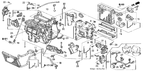 2005 TSX 4 DOOR 6MT HEATER UNIT diagram