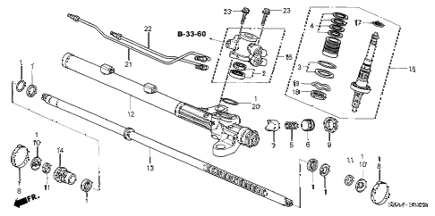 2005 TSX 4 DOOR 5AT P.S. GEAR BOX COMPONENTS diagram