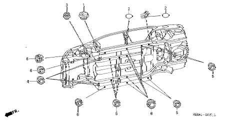 2005 TSX 4 DOOR 6MT GROMMET (LOWER) diagram