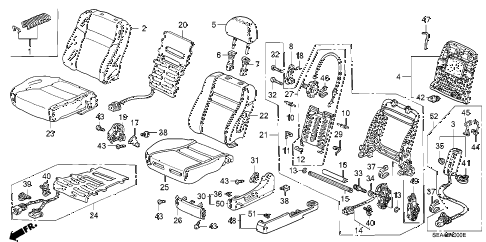 2007 TSX 4 DOOR 6MT FRONT SEAT (L.) diagram