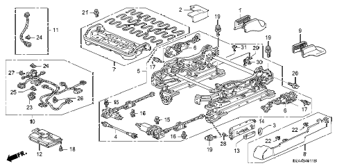 2006 TSX 4 DOOR 6MT FRONT SEAT COMPONENTS (L.) (2) diagram