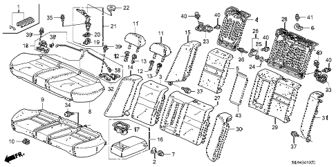 2006 TSX 4 DOOR 6MT REAR SEAT diagram