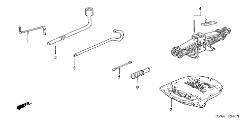 2005 TSX 4 DOOR 5AT TOOLS - JACK diagram