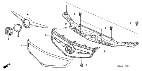2006 TSX 4 DOOR 6MT FRONT GRILLE (2) diagram