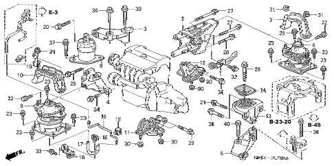 2007 TSX 4 DOOR 6MT ENGINE MOUNTS (MT) diagram