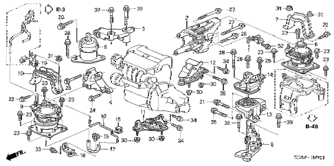 2004 TSX 4 DOOR 5AT ENGINE MOUNTS (AT) diagram