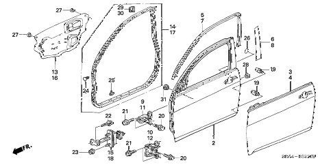 2007 TSX 4 DOOR 6MT FRONT DOOR PANELS diagram