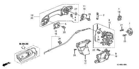 2007 TSX 4 DOOR 6MT REAR DOOR LOCKS - OUTER HANDLE diagram