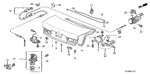 2006 TSX 4 DOOR 6MT TRUNK LID diagram