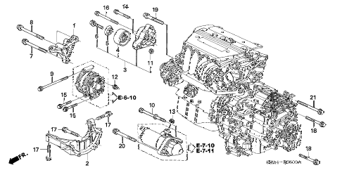 2006 TSX 4 DOOR 6MT ENGINE MOUNTING BRACKET diagram