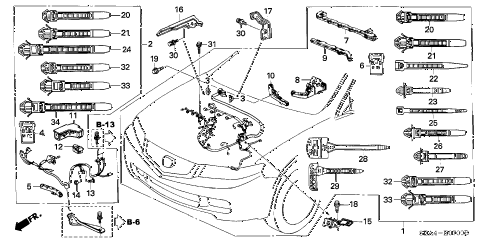 2004 TSX 4 DOOR 5AT ENGINE WIRE HARNESS diagram