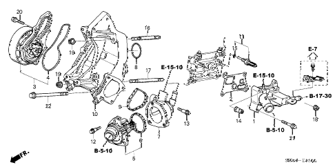 2006 TSX 4 DOOR 6MT WATER PUMP diagram